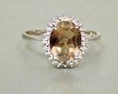 Vintage Diamond and Smoky Quartz 10K Ring, 1.40 Carats, White Gold