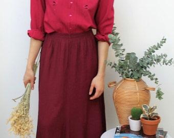 Burgundy Crepe Style Midi Skirt Size UK 12/14, US 8/10, EU 40/42