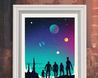 Guardians Of The Galaxy inspired Movie Poster Art Print - Art Poster Print - Marvel - Starlord - Groot (Available In Many Sizes)