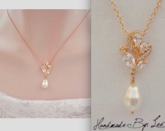 Gold pearl necklace ~ Brides necklace ~ AAA+ Cubic zirconias, Marquise pendant ~ Gold Swarovski pearl necklace, Elegant, LILLY