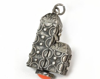 Vintage Jeweled Etruscan Silver Charm for Bracelet - C1950s 800 Silver Charm - Traditional Silver Charm with Coral-Color Accent Gift for Her