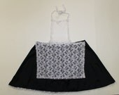 Vintage Maid Apron Costume Fancy Dress Sexy Black Skirt Pinafore White Lace Mini Dress Fetish 32 waistHalloween