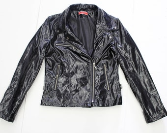 Black Wetlook PVC Jacket - Fitted Vinyl Zip Up Leather look Punk Blazer-Zips Buckles-90s Patent-Cyber Grunge-Small XS