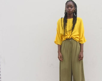 RESERVED! Vintage yellow blouse 90s slouchy top