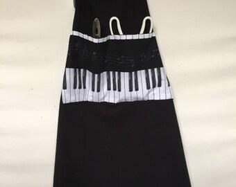 Piano Keys Keyboard Musical Black Denim Men's Women's Bib Chef Grill Barbeque  Apron
