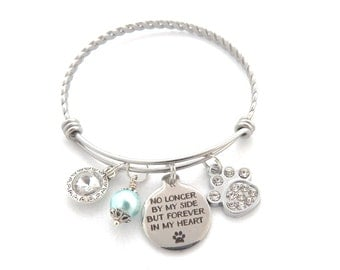 Pet Memorial Jewelry, Loss of Pet, Pet Remembrance Bracelet, Loss of Dog Keychain,Loss of Cat, No Longer By My Side But Forever in my Heart