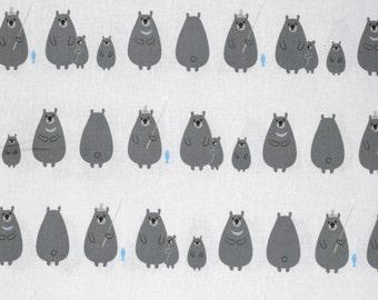 Kiyohara Japanese fabric - kawaii bears in cotton / linen canvas - 1/2 YD