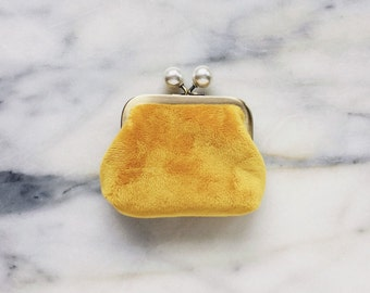 Coin Purse - Soft Fuzzy Pouch - Coin Purse With Knobs - Handmade - Mustard