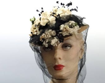 Small Straw Tilt Hat Percher WWII 1940's Accessories - Cream and Black Posies with Long Veil
