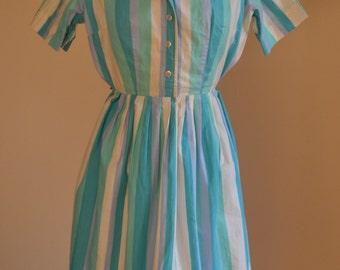 1950s Pastel Striped Shirtwaist Summer Day Dress