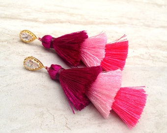 Statement Tassel Earrings Fuschia Hues Crystal Teardrop 24K Gold Plated & Sterling Silver Ear Posts Bridal Earrings, Anniversary Gift
