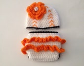 Crochet Baby Baltimore Orioles Set Newborn Photo Prop Baby Girl Baseball Set Coming Home outfit Made To Order