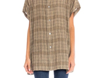 1970s Issey Miyake Mens Linen Shirt Size: XL