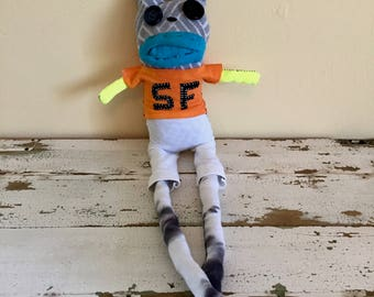 San Francisco Giants Unique Sock Animal Bunny, Baseball Player, Rag Doll, Made with all Reclaimed Clothing, Hand-stitched,OOAK, Plush Toy