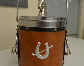 Vintage Jockey Ice Bucket - Western Style Horseshoe Emblem - Ice Tub