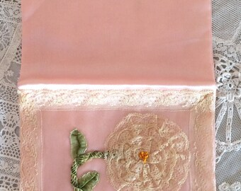 Antique Ribbon Work Ribbonwork and Lace Rosette on Charmeuse Silk Hankie Hanky Handkerchief or Lingerie Case