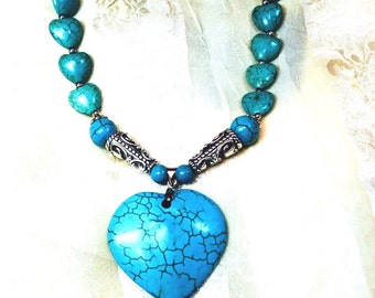Turquoise Howlite Heart Necklace Handmade by NorthCoastCottage Jewelry Design