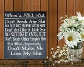 Mothers day from daughter, Mom Gift Mom, Wood Sign, Mom's Shit List, Mom Sign, Mom Rules Sign,  Mom Humor, Wood Signs