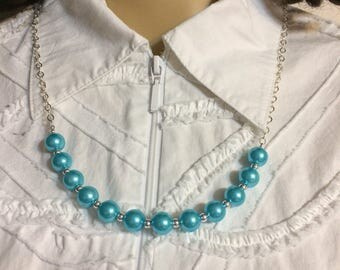 Big Pearl Necklace, glass pearls, Aqua Turquoise or Midnight Blue, Minimalist necklace, gold or silver, long necklace, layering necklace