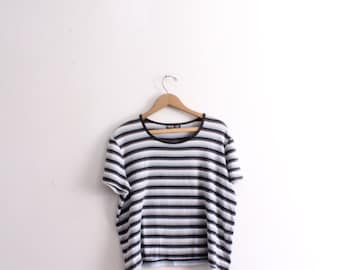 Basic Blue Striped 90s Tee