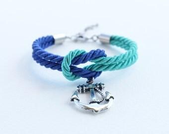 Nautical rope bracelet - knot rope bracelet - anchor bracelet - rope knot bracelet - sailor knot bracelet - nautical wedding