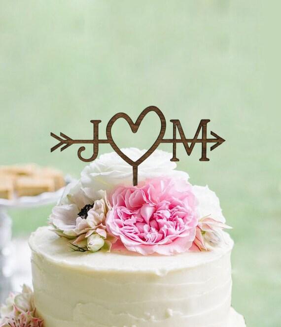 Cake Top Decorations For Wedding : Rustic Wedding Arrow Cake Topper Custom Cake Topper Beach