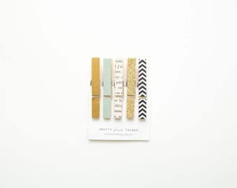 French Refrigerator Magnet Set- Large Clothespin Clip Magnets - gold and black