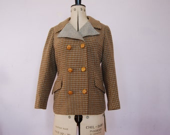60s tweed jacket - 60s houndstooth jacket - 60s double breasted jacket - 60s dogstooth jacket - 60s wool coat - vintage wool jacket