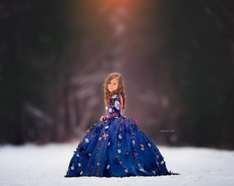 LIMITED EDITION 'Midnight Floral' Deluxe Couture Flower Girl Dress