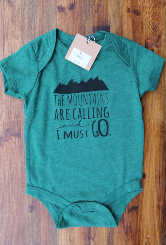 """6 months- Green Graphic Print Baby Bodysuit in """"The Mountains Are Calling And I Must Go"""", bodysuit onesie infant toddler, Hipster Style"""