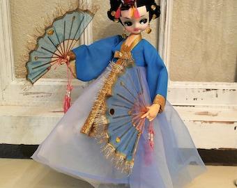 vtg Japanese BRADLEY doll Geisha BEAUTY fans blue tulle dress gold earrings headress