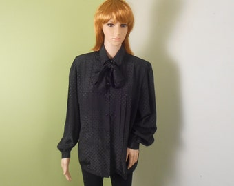 Black Secretary Blouse with Tie  - Lindsey Blake- Size 12 - 1970s -  Free US Shipping