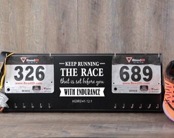 Double race bib rack and medal display - Keep running the race - Hebrews 12 :1.
