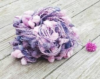 Thick and Thin Yarn, Handspun Yarn, Art Yarn, Artisan Yarn, Coilspun, Purple Yarn, Gray Yarn, Merino Yarn, Soft Yarn, Gift for Her - BAUBLES