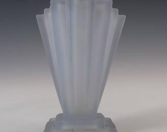 Bagley 1930's Art Deco Blue Glass 'Grantham' Vase #334 #2