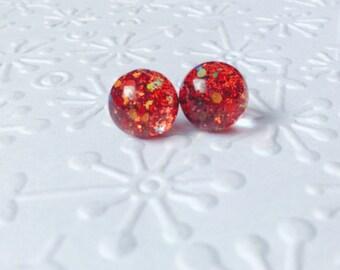 Red stud earrings,glitter red stud earrings,red round stud earrings,resin glitter stud earrings,red earring,holydays gift,for her,