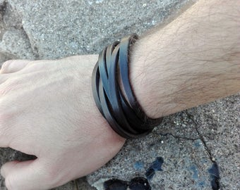 Leather wrap bracelet women mens gift clasp closure-black or brown color cuff