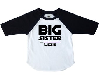 Big Sister Shirt - Star Wars Shirt- Big Sister Little Sister - Star Wars Raglan Tee - Toddler Shirt - Youth Shirt - Sister Gift - New Baby