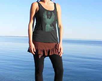 Goth Style Tank Top With Crow and Sacred Pagan Occult Symbol of Female Spirituality on Black American Apparel Great as Festival Wear