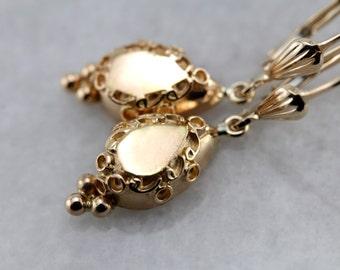 Vintage Etruscan Revival Decorative Drop Earrings 75M6Z7-P