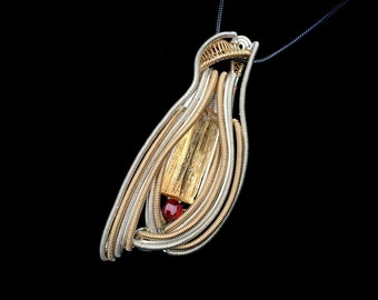 Topaz and Garnet Wire Wrapped Pendant, Wire Wrap, Heady Wire Wrap, Topaz Wire Wrap, Topaz Pendant, Garnet Pendant, Heady, Wire Wrap Jewelry