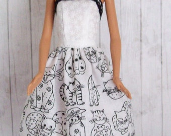 Barbie clothing, handmade dress, cat dress, fashion doll clothes, doll dress, Barbie cat dress, modest Barbie, animal dress, girls gift