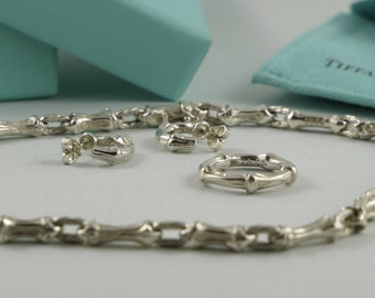 FREEShippingCanada+US 1990's Vintage Tiffany & Co. Sterling Silver Jewelry Set Tiffany Choker Necklace Tiffany Earrings Ring For Mom Gift