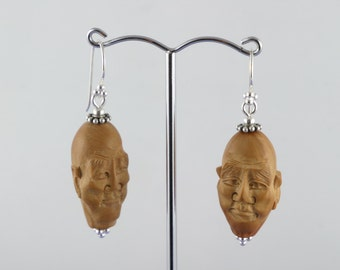 1970's Vintage Chinese Sterling Hand Carved Olive Pit Dangle & Drop Earrings Chinese Jewelry Hedaio Art Funky Vintage Easter Gift For Her