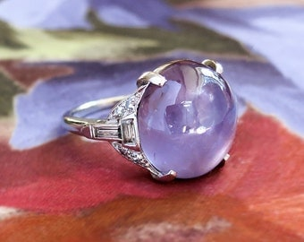 Vintage Star Sapphire Ring Art Deco 1930's No Heat Purple Star Sapphire Diamond Cocktail Anniversary Birthstone Ring Platinum