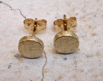 POST EARRINGS Handmade Earrings Gold studs Earrings Fine Jewelry matte finish earrings Small earrings Simple gold earrings Solid gold