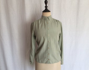 sage green silk shirt