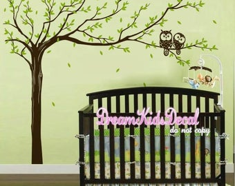 Giant Tree wall decal Nursery wall decal with owls decals vinyl baby wall decal nursery tree decal branch decal-DK026