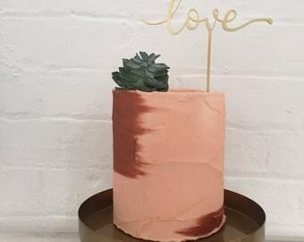 Modern Calligraphy LOVE cake topper