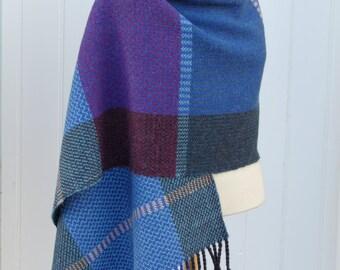 Handwoven shawl, wrap, wool shawl, alpaca shawl, large scarf, woven scarf, Scotland.